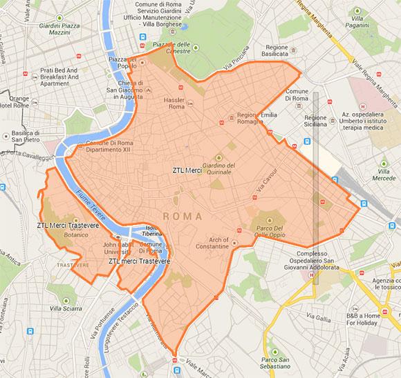 Mappa ztl roma